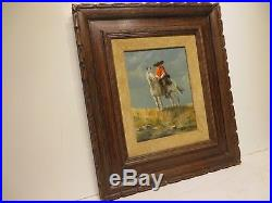 12x9 original 1970 oil painting on canvas by Joe Roberts El Charro Western