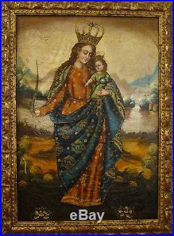 1700's Cuzco School Antique Oil Painting on Original Canvas