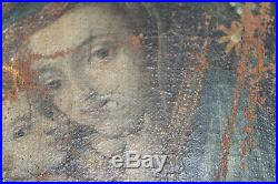 17th Century oil on canvas handpainted Madonna with child VERY RARE ORIGINAL