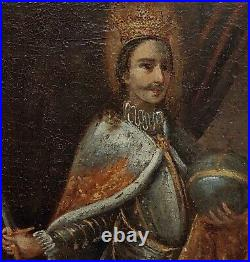 17th century portrait of a King with his sword -Icon Oil painting