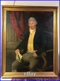 1807 Huge Antique 19th Century Oil Painting Portrait Man Gentleman CERTAIN STATE