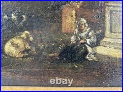 18th Century Italian Old Master Ruins Landscape Painting with Animals Oil / Canvas