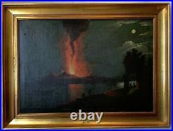 18th Century Oil painting Animated Seascape Eruption Mount Vesuvius Naples c1794