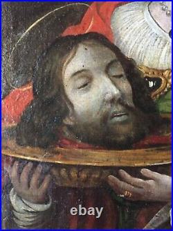 18thC Antique oil painting Salome The head of Saint John the Baptiste GUIDO RENI