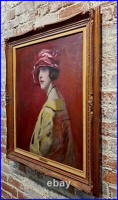 1910s Study Portrait Woman withRed Hat-Oil painting possibly William Merritt Chase