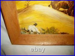 1950s OIL PAINTING SOUTH WESTERN ART BUFFALO JUNE KRAKEL WOOD FRAMED VINTAGE