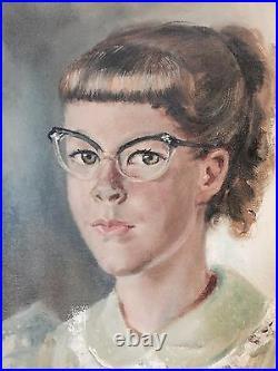 1955 Orig MARGARET KEANE / ULBRICH Oil Canvas Painting Girl Big Cat Eye Glasses