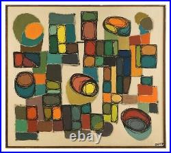 1961 John Stephen Deyoe Abstract Oil Painting on Canvas Mid Century Abstraction