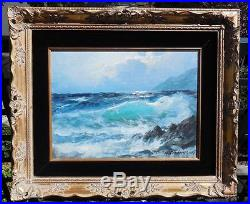 1972 ALEX DZIGURSKIGreen SurfOriginal Oil on Canvas Coastal Seascape Painting