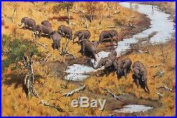 1982, John SEEREY-LESTER, Elephants Watering, ORIGINAL oil on canvas, 61x76cm