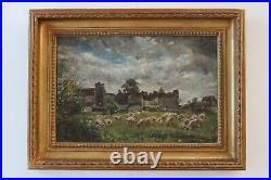 19C William Mark Fisher Impressionist Sunset Sheep Original Signed Oil Painting