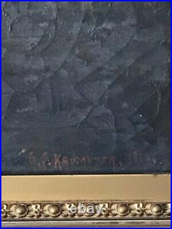 19TH CENTURY ANTIQUE LANDSCAPE OIL PAINTING c1900 OLD PLEIN AIR IMPRESSIONIST