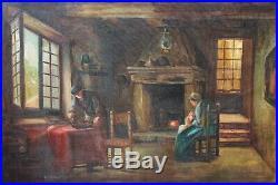 19c Antique Original Oil Painting on canvas interior genre scene, Unsigned, Framed