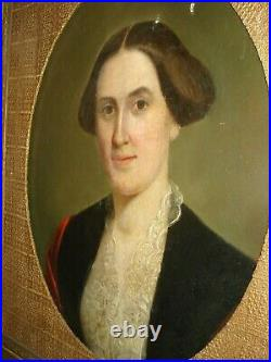 19th Century Early American Primitive Oil Portrait, style of Jacob Eichholtz