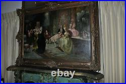 19th Century Palatial Antique Painting young Mozart and Marie Antoinette'