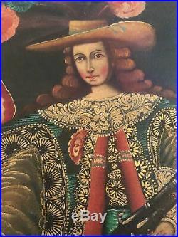 19th Century Spanish American Archangel Uriel Oil Painting Cusco Antique Icon