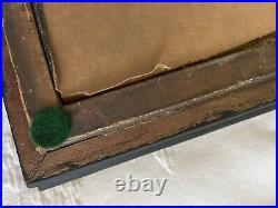19th c. Antique American Oil Portrait of a Young Lady Lace Collar & Brooch