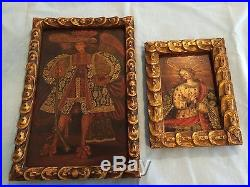 2 antique painting/paintings oil on canvas original antique frames