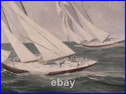 20C American Yachting Sailboat Seascape Oil Painting