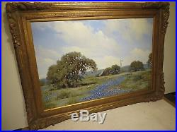 24x36 org. 1973 oil painting by W. A. Slaughter Texas Bluebonnet Hill Country