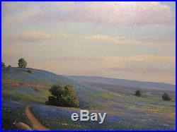 24x36 original 1975 oil painting by Wm. Blackman Texas Bluebonnet Hill Country