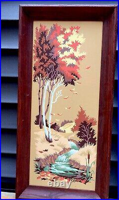 3 VTG MCM SEASONS Paint By Number Pictures With Frames Dark Oak 27X13