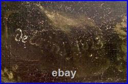 AMERICAN FOLK ART antique oil painting 19thC Horse hunter Hunting Signed c1823