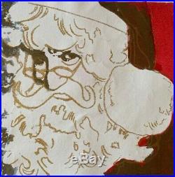 ANDY WARHOL silk-screen on original canvas of 80's SANTA CLAUS! MUSEUM