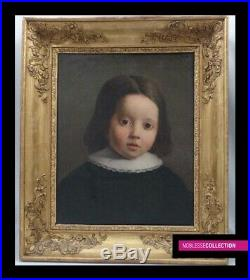 ANTIQUE ORIGINAL FRENCH SCHOOL 1830s OIL ON CANVAS PAINTING Portrait of a child