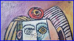 AWESOME Original on French Frame Pablo Picasso Oil On Canvas Painting 1964 A1