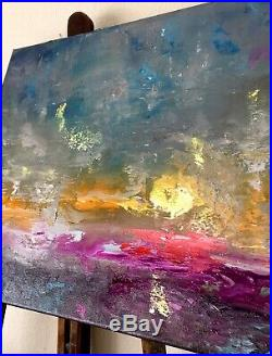 Abstract Landscape Sunrise signed original oil painting on canvas 50x40cm