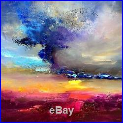 Abstract Landscape Sunset signed original oil painting on canvas