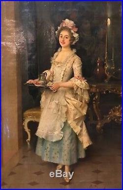 Adriano Cecchi (1850-1936) Original Oil on Canvas Pretty Woman in Dress