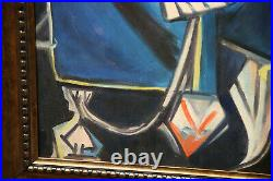 After Pablo Picasso Incredible Large Antique Painting Reproduction Cubism Style