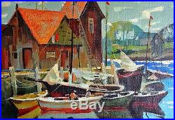Aksinia-Yachts-Untitled Framed ORIGINAL Oil Painting on Canvas, Hand Signed