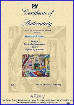 Alexander Astahov Original Oil on Canvas Twilight Interior Modern Royal Design