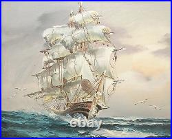 Ambrose Oil On Canvas Sailing Ship At Sea Painting
