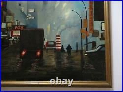 American Regionalism Oil Painting Street Lights Scene Urban Modernism Signed