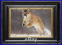 Animal Oil Painting Mountain Lion Original Wildlife Master Art on Canvas 24x36
