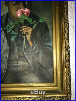 Anitque African American boy portrait original oil painting vintage folk art