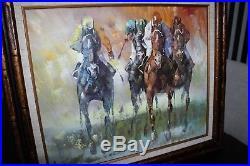 Anthony Veccio Original Oil on Canvas Painting Jockeys & Race Horses 30 X 26