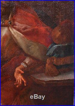Antique 16C-17C Giant Baroque Portrait Oil on Canvas ing receives a Messenger