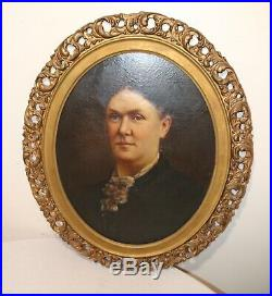 Antique 1800's original portrait of a lady oil painting on canvas ornate frame