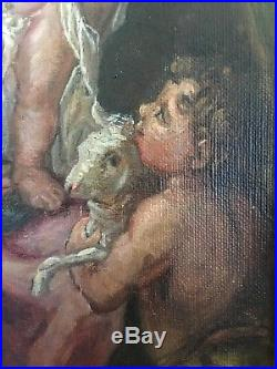 Antique 1800's victorian oil painting on canvas original