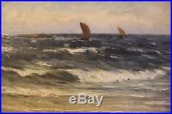 Antique 1800s original oil painting on canvas Maritime