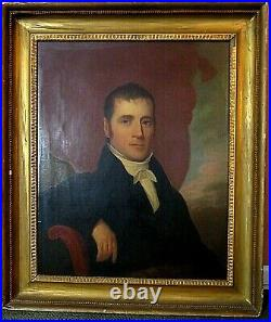 Antique 1830s Oil on Canvas Portrait Philadelphia Gentleman with Original Frame
