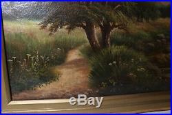 Antique 1889 original signed F. Graham landscape river oil painting canvas art