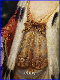Antique 18th Century French Oil painting on Canvas Portrait of Girl with Peach