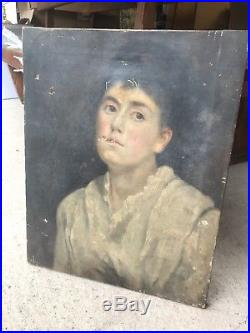 Antique 18th Century Oil On Canvas Portrait Painting Of Lady Original