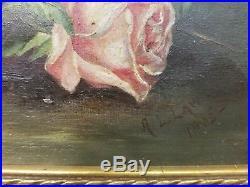 Antique 1900's Pink Rose Oil Painting On Canvas In Original Gold Frame Signed